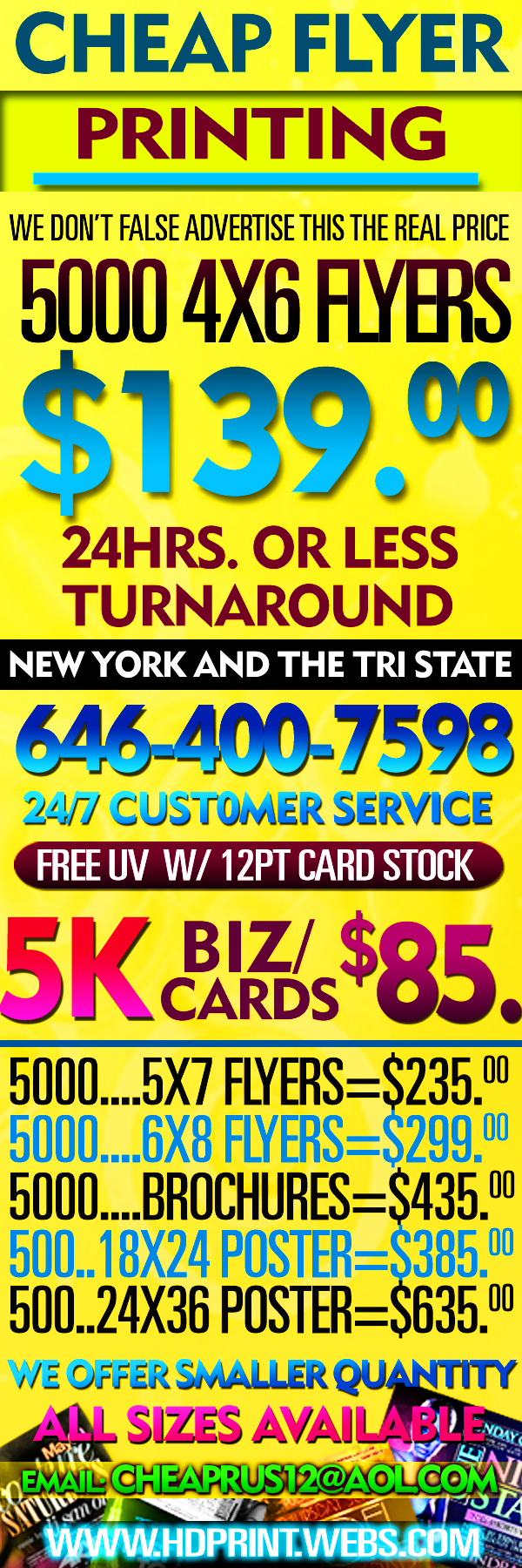 Home flyers biz cards posters brochures 24hrs t for Print posters online cheap
